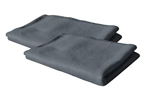 KiGATEX 2er Pack Polar Fleecedecke Uni 130x160 cm in vielen Farben ca. 420g pflegeleicht (grau)