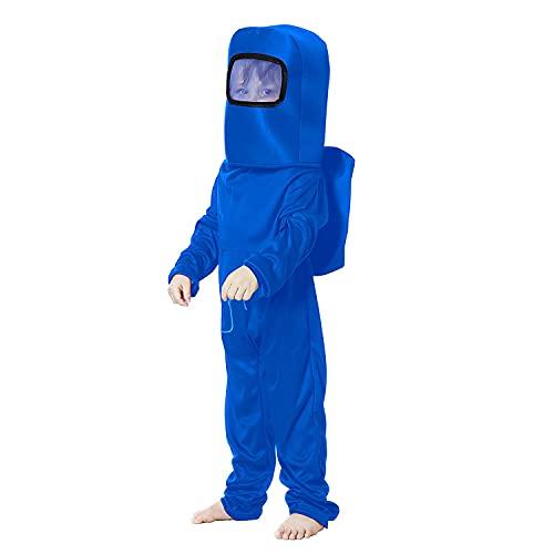 Waslary Disfraz infantil de astronauta espacial, mono con mochila, máscara, disfraz infantil, disfraz infantil, juego de rol para niños, Halloween, cosplay, carnaval, fiesta de cumpleaños (azul, M)