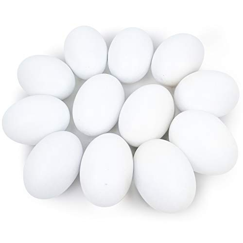 JOYIN 12 PCS Unpainted White Wooden Fake Easter Eggs for Easter Egg Hunt, Paintable Easter Eggs, Easter Crafts for Kids Party Favor, Children Easter DIY Game, Kitchen Craft Adornment, Egg Toy Food