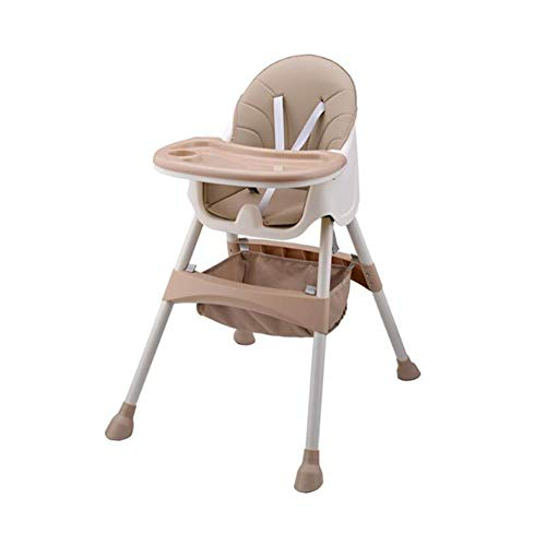 Zhenwo Baby High Chair with 5 Point Safety Straps Removable Tray Height Adjustable Folding Portable High Chair for Boys Girls,Braun