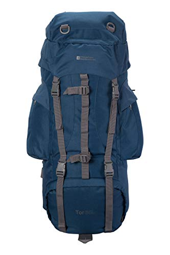 Mountain Warehouse Tor 65L Spacious Rucksack - Ladderlock Back Travel Backpack Dark Blue