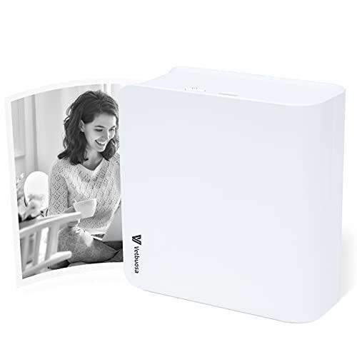 Vetbuosa Impresora Portátil Mini Impresora Bluetooth para Movil Mini Impresora Fotográfica Impresora Térmica Compatible con iOS y Android para imágenes, Fotos, Etiquetas, Notas de Diario, (Blanco)