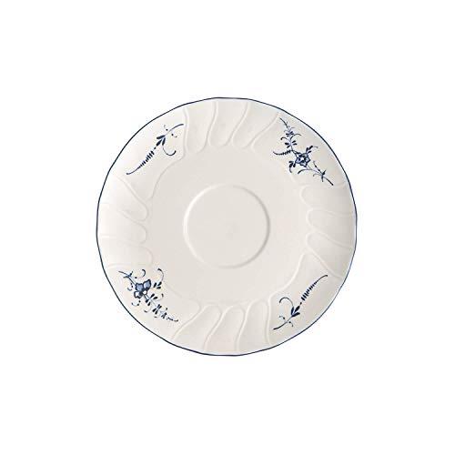Villeroy & Boch Vieux Luxembourg Soucoupe pour bol à soupe avec anses, 19 cm, Porcelaine Premium, Blanc/Bleu