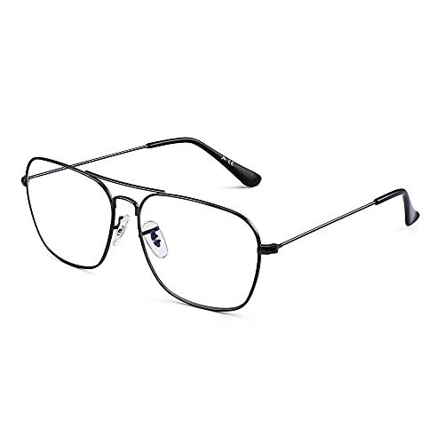 JM Flieger Blaues Licht blockiert Computer Brillen, Platz Augenschutz Video Eyeglasses Anti Blendung Damen Herren(Gunmetal Rahmen Schwarze Tempel Tipps)