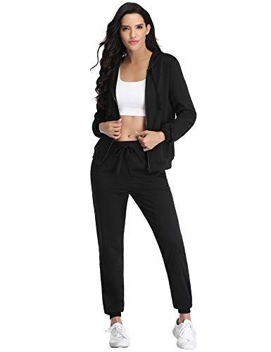 Irevial Chandal Conjunto para Mujer Invierno, Conjunto Chandal Mujer Completo Algodon Chaqueta y Pantalón Deportivo Mujer Manga Larga con Cremallera Dos Piezas