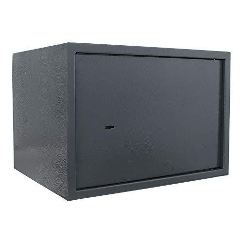 HomeDesign cassaforte da scaffale HomeDesignSafe HDS-30, in acciaio a parete singola, chiusura con serratura a chiave a doppia mappa, blocco chiusura a 2 chiavistelli, ripiano interno, antracite.