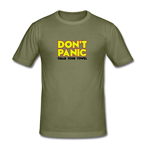 Don't Panic - Grab Your Towel - Keine Panik - greif dir Dein Handtuch Männer Slim Fit T-Shirt, L, Khaki Grün