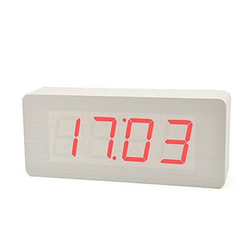 Dingang Creative led-wekker, stem, elektronisch, drie alarmgroepen, stilschakeling, hout, retro wekker, temperatuurweergave Mot Bois Rouge Blanc
