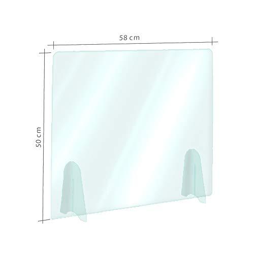 Parafiato in plexiglass,Protezione In Plexiglass Anticontagio Trasparente - 58x50cm - Presidio Di Sicurezza senza buco