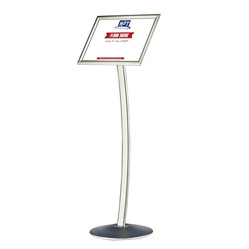 11x17 Curved Menu Sign Stand for Floor with Snap-Open Frame - Silver, Advertising Display