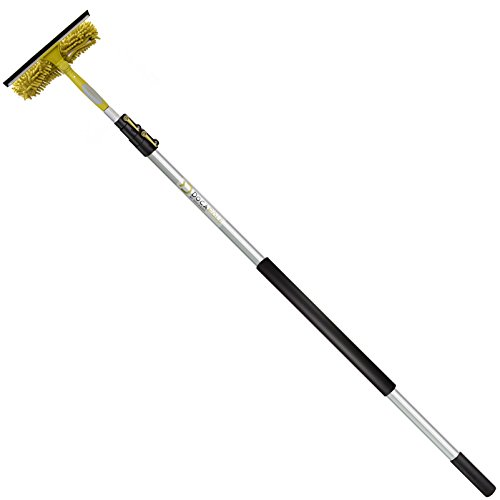 DocaPole 5-12 Foot (1.5-3.5m) Extension Pole + Squeegee & Window Washer Combo // Telescopic Pole for Window Cleaning // Includes 3 Sizes of Squeegee Blades // Extension Pole for Cleaning Windows
