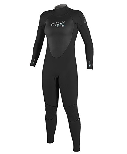 O';Neill Dames Epic 3/2MM Gbs Back Zip Wetsuit Zwart Zwart - Smooth Skin FluidFlex ? Firewall - Krypto Knee Padz