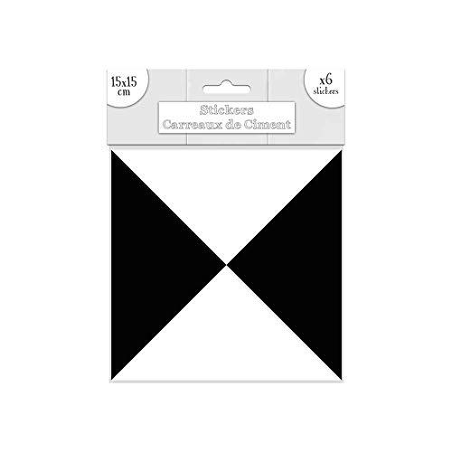 Lote de 6 pegatinas de azulejos de cemento, color negro y blanco, 15 x 15 cm