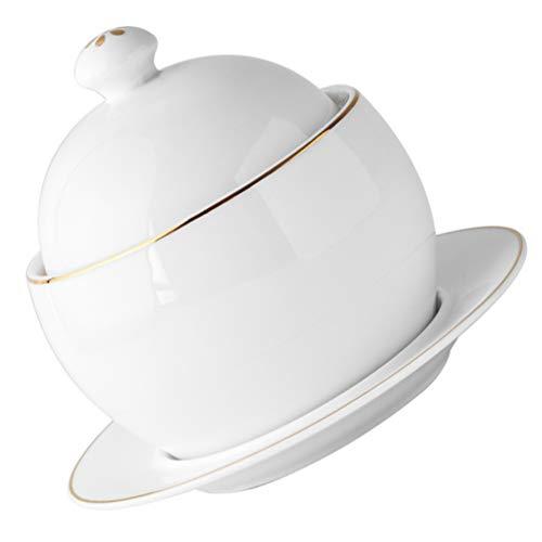 Cabilock 1 Set Keramik Eintopf Topf mit Deckel Porzellan Dampf Suppe Schüssel Dampfende Tasse Für Egg Custard Heilkräuter Vögel Nest Tonic