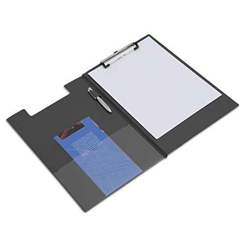 Rapesco Documentos , Carpeta Portapapeles con Pinza, Incluye Bolsillo Interior y Soporte para Bolígrafo, Color Negro