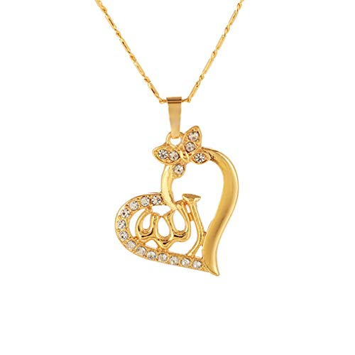 Timesuper Heart Shaped Allah Pendant Necklace Muslim Jewelry for Women Girls,Golden