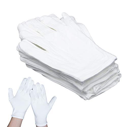 LIEKUMM 12 Paar weiße Baumwollhandschuhe für trockene Hände Ekzem Feuchtigkeitsspendende Portion Münzschmuck Silber Kostüm Inspektion SPA Handschuhe Inspektionshandschuhe Größe