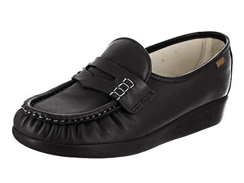 SAS Women's Classic Slip on, Black Leather, 7.5W
