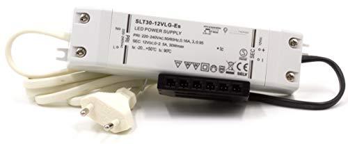 LED Trafo 12V DC 30W EMC Netzteil Treiber 220V - 240V Transformator mit Überlastungsschutz Überhitzungsschutz 0-30 Watt mit mini AMP Stecker und 230V Euro-Stecker