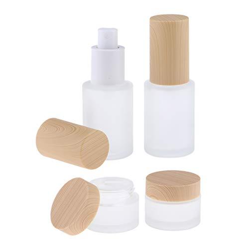 F Fityle Juego de 4, Frascos de Crema de Maquillaje de Vidrio Esmerilado Vacíos, Frascos de Loción Y Viales de Muestra de Perfume, Envases de Almacenamiento de