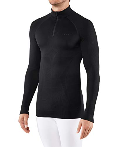 FALKE Maximum Warm Zip M L/S SH Couche de base supérieure Homme, Noir (Black 3000), XL