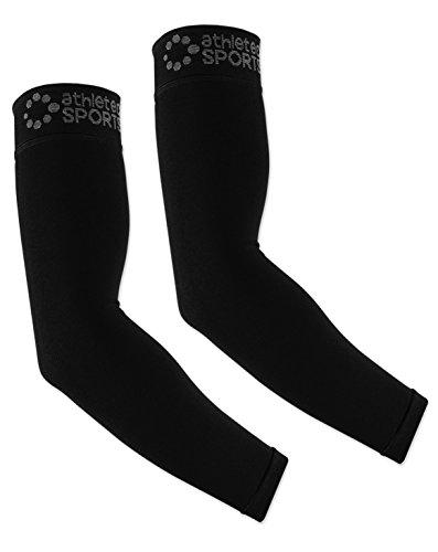 Athletec Sport Compression Arm Sleeve (20-30 mmHg) for Basketball, Baseball, Football, Cycling, Golf, Tennis, Arthritis, Tendonitis - Size Small/Medium in Black (One Pair)