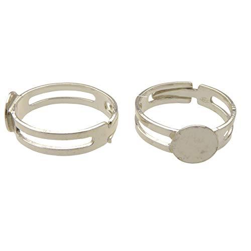 XieXie 2 Stück 925 Sterling Silber Ring Rohlinge mit 7,7mm Klebepad für Schmuck Bastel Experten