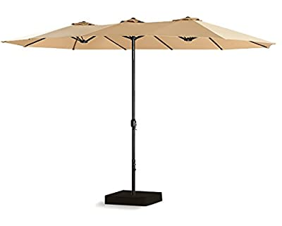 PATIO TREE 15 Ft Outdoor Umbrella Double-Sided Market Patio Umbrella with Crank, 100% Polyester, Base Included (Beige)