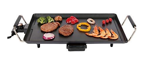 Family Care Plancha de Asar eléctrica, Grill eléctrico, 1800 W, revestimiento antiadherente, bandeja recogegrasas, 55x31cm