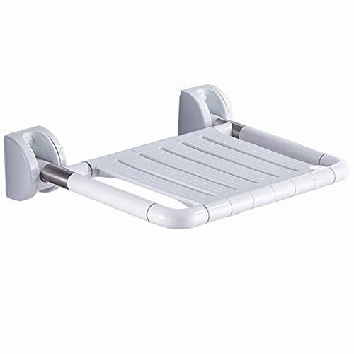 GWFVA Badleuning, opklapbare kruk, douchestoel voor wandmontage, badkamerveiligheidsstoel, badkamermeubels gemaakt van roestvrij staal, met verlichting