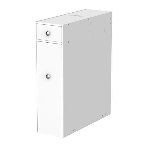 HOMCOM Badschrank Schubladenschrank Badezimmerschrank Badmöbel mit 2 Schubladen und Ablagefach MDF Weiß 17 x 48 x 58 cm