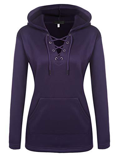 FINEJO Damen Hoodie mit Kapuze Kapuzenpullover V-Ausschnitt mit Seil Loose Slim Fit Pullover Casual Sexy Sweatshirt Einfarbiger Fleece-Innenseite Lila S