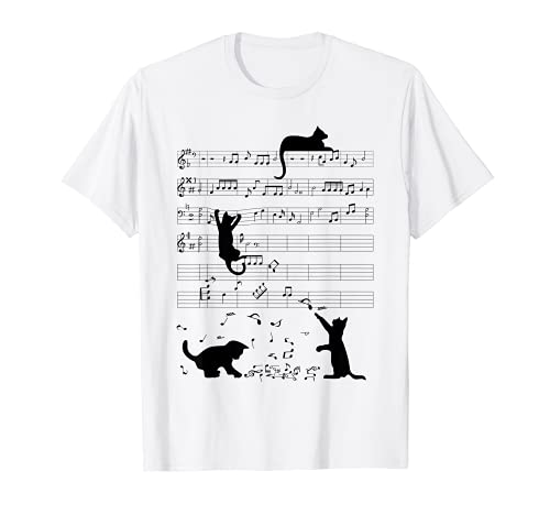 Cute Cat Kitty Playing Music Note Clef Musician Art T-Shirt