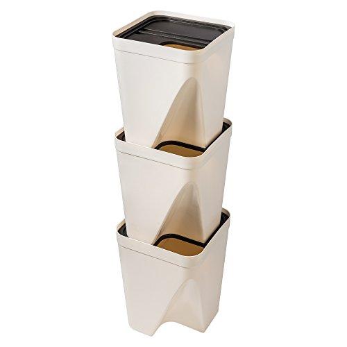 iOCHOW ゴミ箱 25x25x30cm 3段縦置き 分別タイプ 省スペース ユニークなファッションデザイン 美しく実用的