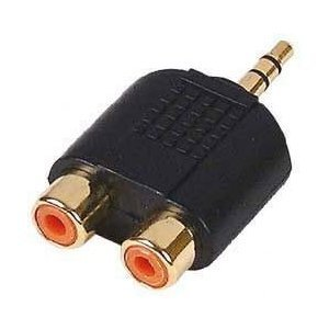 FPUK 3.5mm Mini Jack Stereo to 2 x RCA Phono Adapter GOLD