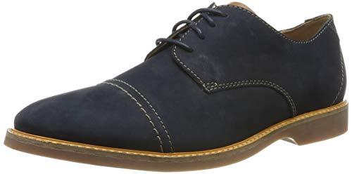 Clarks Atticus Cap, Zapatos de Cordones Derby para Hombre, Azul Navy Nubuck Navy Nubuck, 43 EU