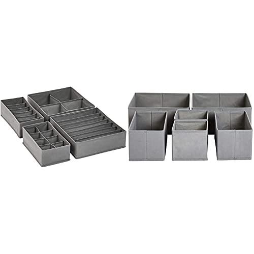 AmazonBasics - Organizer in tessuto per cassetto, Set di 6 & - Organizer per cassettiera, per biancheria intima, Set da 4