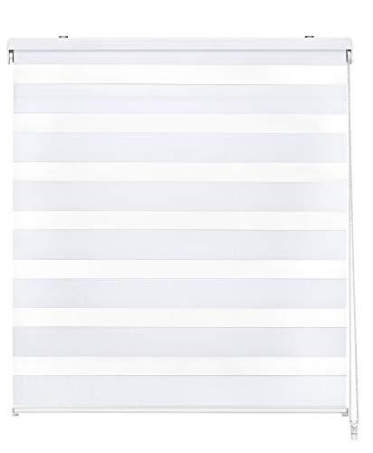 Easydeco - Estor Enrollable Día y Noche - Blanco (135_x_250_cm)