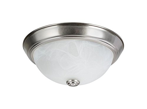 "Aspen Creative 63013-1 Two-Light Flush Mount In Brushed Nickel with White Alabaster Glass Shade,11"" DIAMETER"