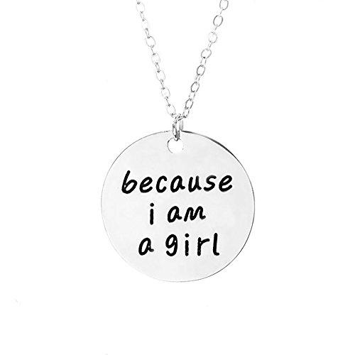 Zilveren-Toon 'Omdat Ik Ben Een Meisje' Gegraveerd Hanger Ketting 2.2cm Diameter Met 18 Inch Keten Meisje Kracht Vrouw Feministisch
