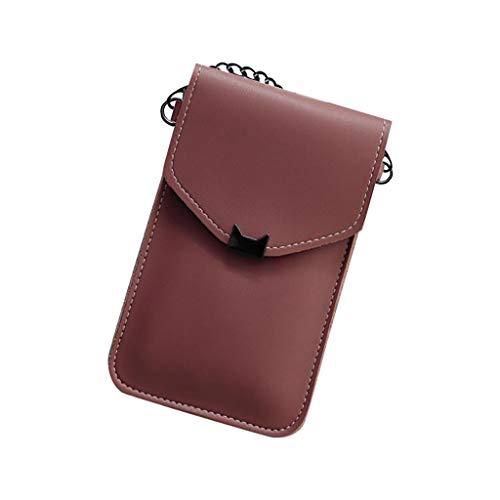 Universal Handyhülle Wasserdich Umhängetasche, 2 in 1 Handtasche Handyhülle Schutzhülle Handy Tasche PU Leder Touchscreen Funktion Leder Mobile Bag Protective Case Handy Tasche (Wein)