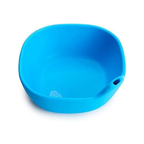 Munchkin Last Drop Silicone Toddler Bowl with Built-In Straw, Blue