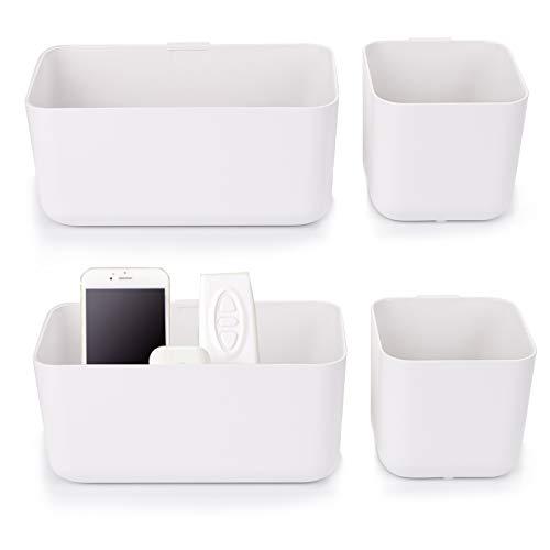 Suwimut Soporte de pared para mando a distancia sin agujeros, organizador autoadhesivo para mesa y mesita de noche, 4 unidades, color blanco