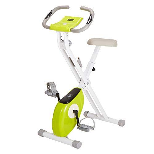 Bicicleta de ejercicio de fitness plegable para interior – 8 niveles de resistencia magnética, sensor de pulso, soporte para teléfono, peso máximo de 100 kg, pantalla LCD (verde)