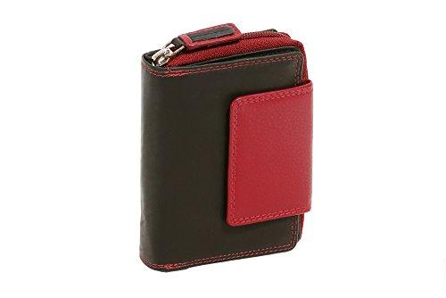 LEAS Portefeuille avec compartiment à fermeture éclair, cuir véritable, noir-rouge Zipper-Collection''