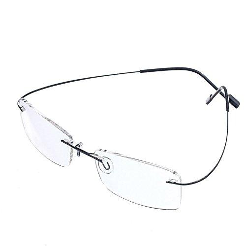 Rongchy Superleichte Titan-Arbeitsbrille für Kurzsichtige, Nahsichtbrille, Stärken -0,5 bis -6,00, für Damen und Herren, modische randlose Brille bei Kurzsichtigkeit