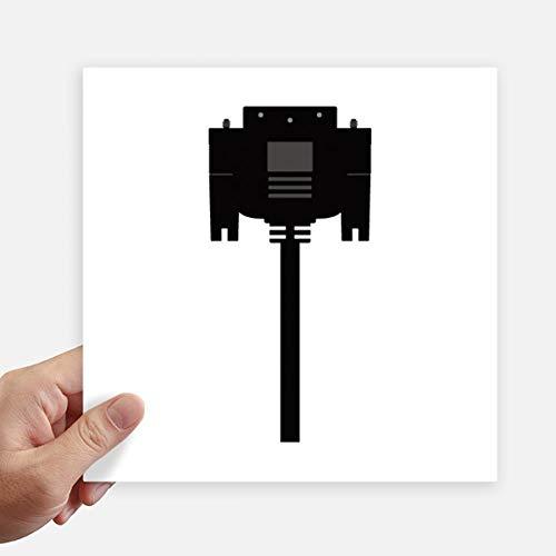DIYthinker Zwart Display Scherm Kabel Plug Vierkante Stickers 20Cm Wandkoffer Laptop Motobike Decal 4 Stks