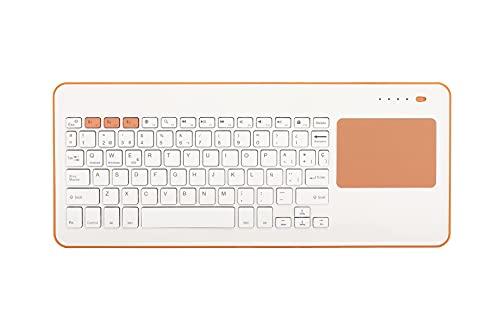 Silver HT - Teclado Inalámbrico con Touchpad para Smart TV, Smartphones, Tablets, iPhone, iPad y Videoconsolas - White + Peach. Teclado en Español. Contiene la Letra Ñ.