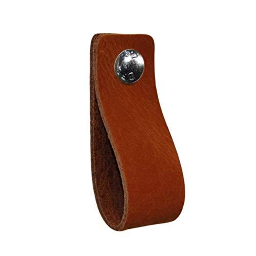 NiiNiiX Ledergriffe Möbel/Cognac - Größe S 1 Stück / 15 x 3 cm / 2 Industrieschrauben pro Griff Ledergriff für Küchenschränke, Schränke, Bad und Tür, Gartenzubehör...