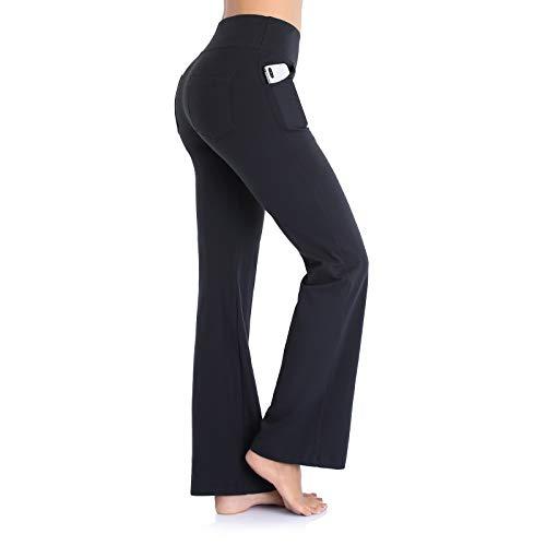 Ollrynns Pantalones de Yoga Mujer Bootcut Pierna Ancha Salón Pantalón de Piltes Cintura Alta Deportivos Leggins con Bolsillos para Yoga Fitness Gym N151 (Negro, M)